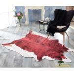 XXL Fellteppich, großer Kurzflor Teppich Springbock rot-schwarz
