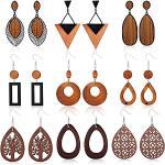 YADOCA 9 Paare Ethnische Holz Ohrringe für Damen Frauen Baumeln Ohrringe Edelstahl Haken Böhmen Boho Ohrringe Vintage Schmuck