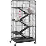 Yahee Nagervoliere Käfig für Erwachsene Ratten Kaninchen Frettchen Chinchillas 64 x 43,7 x 131,2 cm Schwarz