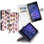 yayago Deluxe Tasche Eule Book Style Hülle für Sony Xperia M2 Aqua/Sony Xperia M2 Weiß