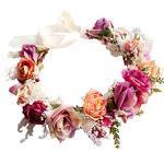 YAZILIND Hochzeit Blumen Kranz Crown Brautjungfer Rose Floral Kopfschmuck mit Ribbon Photo Requisiten