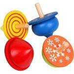 YeahiBaby Holzkreisel Traditionelle Holzspielzeug Kinder Sielzeug 4 Stück (Bunt)