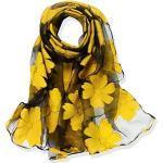 YFZYT Organza-Schal für Damen mit Feder Stickerei Muster/Elegantes Accessoire für Frauen/Organza-Schal/Halstuch/Schulter-Tuch/Schal Chiffon Stola Scarves - Gelbe Blume