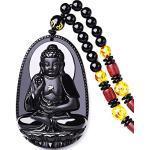 Yigedan Halskette mit Buddha-Anhänger aus natürlichem Obsidian
