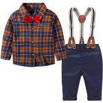 Yilaku Baby Jungen Anzug Kinder Kinderkleidung Junge Bekleidungsset Vintage Kleidung Taufanzug Hemd und Hosenträge Hose und Fliege(Braun schwarz,12-18 Monate)