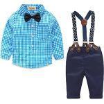 Yilaku Jungen Bekleidungssets Baby 4tlg Anzug Langarm Karierte Hemd + Hose mit Hosenträger+ Fliege Anzug Junge babyGentleman Festliche Taufe Hochzeit Taufanzug (Blau,100)