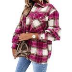 Yming Damen Langarm Plaid Hemd Kariert Holzfällerhemd Oversized Casual Karo Hemdbluse D-Rose XL