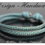 Yoga Armband Surferarmband Blau Braun Diamond Unisex, Surfer Armband, Wickelarmband, Freundschaftsarmband, Geschenk Papa