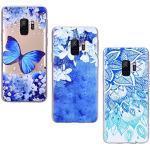 Yokata [3 Packs für Samsung Galaxy S9 Hülle Silikon Transparent Durchsichtig Handyhülle Schutzhülle TPU Ultra Dünn Slim Kratzfest mit Motiv Muster - Blauer Schmetterling + Weiße Blume + Blauer Lotus