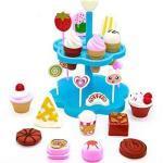 yoptote Eisständer aus Schicht Kaufmannsladen Zubehör Eissorten am Kinderküche DIY ab 3 4 5 Jahre, 32 Stück (Mehrweg)