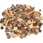 Youery 600 Stück Holzknöpfe Kokosknöpfe Kinderknöpfe Knöpfe Scrapbooking Kinder Kleidung Deko Kunststoff DIY Basteln Nähen,2/4 Löcher Natur Holz Knöpfe