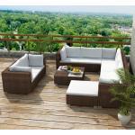YOUTHUP 10-tlg. Garten-Lounge-Set mit Auflagen Poly Rattan Braun