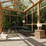YOUTHUP 6-tlg. Garten-Lounge-Set mit Auflagen Poly Rattan Grau