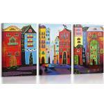 YS-Art | Acryl Gemälde Traum Stadt | Handgemalte Leinwand Bilder | 120x80cm | Wandbild Acrylgemälde | Moderne Kunst| Leinwand | Unikat | rot |3-teilig