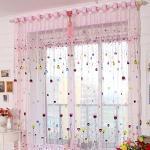 Yujiao Mao 2er Set Voile Gardinen mit Ösen Kinderzimmer Vorhänge Bunte Herz Druck Pink BxH 100x200cm