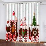 YUNSW Weihnachten 3D Digitaldruck Vorhänge, Garten Wohnzimmer Küche Schlafzimmer Blackout Vorhänge, Perforierte Vorhänge 2 Stück Set