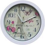 Zarupeng Nostalgie Wecker mit Eiffelturm, Lautlos Digital Wecker Retro Analog Quarz Wecker, Schlummerfunktion, Geräuschlos (12cm X 12 cm, Weiß)