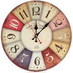 Zarupeng Shabby Retro Wand-Uhr, Wohnzimmer Uhr ohne Tickgeräusche, Antike Holz Lautlos Wanduhr für Home Kitchen Office (One Size, E)