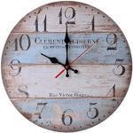Zarupeng Vintage Wanduhr, Nostalgie Style und Used-Look, Nicht-tickende Stille Lautlos Holz Wanduhr für Home Küche Büro Wohnzimmer (One Size, C)