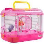 Zedelmaier Hamster Laufrad Spielzeug Transportbox für Hamster Nager Mäuse (kein Hamsterheim) mit Rohrsystem, Trinkflasche (Pink - 33 x 20 x 23 cm)