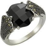 Zeeme Ring »925/- Sterling Silber Achat Markasit«, schwarz, schwarz