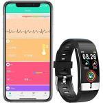 Zeerkeer Smart Armband Fitness Tracker EKG PPG Blutdruck Monitor 0,96 zoll Farbe Bildschirm UI Schrittzähler Schlafmonitor IP67 Wasserdichte Lange Standby-Smart Uhr Männer frauen(Rot)