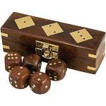zeitzone Würfel Set 5 Spielwürfel in Holzbox mit Messingbeschlägen Maritim Yacht Boot