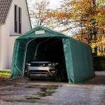 Zeltgarage 3,3x4,8 m - inkl. Statik, PVC 550, dunkelgrün mit Statik (Erduntergrund) Garagenzelt