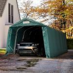 Zeltgarage 3,3x7,2 m - inkl. Statik, PVC 550, dunkelgrün mit Statik (Erduntergrund) Garagenzelt