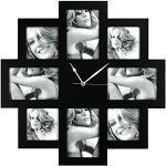 Zep Taranto Wanduhr mit Bilderrahmen f?r 8 Bilder (4 Fotos mit 10x 15 cm und 4 Fotos mit 10 x 10 cm), schwarz