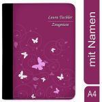 Zeugnismappe / Dokumentemappe mit Name personalisiert Schmetterling Ornamente Brombeere Grau