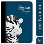 Zeugnismappe / Dokumentemappe mit Name personalisiert Zebra Blau blau