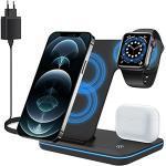 ZHIKE Kabelloses Ladegerät, 3 in 1 Qi 15W Schnellladestation mit QC3.0-Adapter für Apple iWatch Serie 5/4/3/2/1, AirPods, Kompatibel mit iPhone 11 Serie/XS MAX/XR/XS/X / 8/8 Plus/Samsung