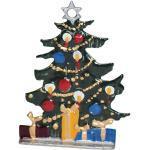 Zinngeschenke Tannenbaum, klein von Hand bemalt, Zinnfigur zum stellen (HxB) 4,0 x 3,8 cm