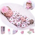 ZIYIUI 22 Zoll 55cm Reborn Babypuppe Mädchen Realistisch Baby Puppe lebensecht Weiches Vinylsilikon Reborn Baby Doll Handgemacht Neugeborene Echte Babypuppe Spielzeug