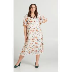 Zizzi Abendkleid Große Größen Damen Midikleid mit Blumenprint und kurzen Ärmeln, weiß