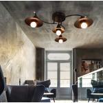 ZMH Deckenleuchten »E27 Deckenleuchte Vintage Schwarz Wohnzimmerlampe 4 Flammig Industrielle Flurlampe Innen Schlafzimmerlampe Esszimmerlampe aus Plastik in moderner Metall-Optik