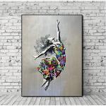 ZXCLKJH Banksy Kunstdruck Auf Leinwand,Kreative Abstrakte Tanzenden Mädchen Bild Auf Leinwand Drucken Wall Art Poster Und Drucke Street Pop Art Leinwand Gemälde Zur Dekoration, 50 X 70 cm Ohne Rahmen