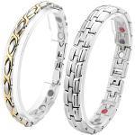 Zysta Partner Schmuck Paar Ambänder Magnetarmband 4 in 1 Magnettherapie Armband Männer Damen Bracelet aus Edelstahl für verliebte mit Geschenkbox (#2)